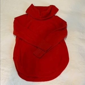 Anthropologie red cowl neck sweater